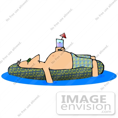 Clip Art Graphic of a Man Sun Bathing On An Inner Tube In A.