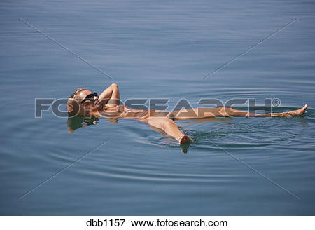 Picture of Dead Sea bather, Jordan dbb1157.