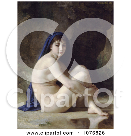 Bather Woman With a Cloth Over Her Head, Seated Nude by William.