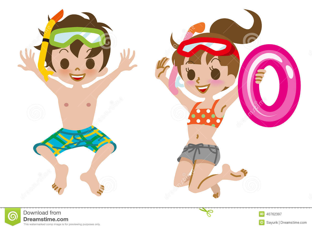 Swimsuit Clip Art Children Stock Photos, Images, & Pictures.