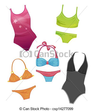 EPS Vectors of set of the swimsuits for girls csp14277099.