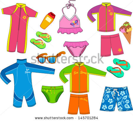 Kids in swim suit clipart.