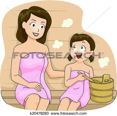 Clipart of Mom and Son Sauna k20478063.