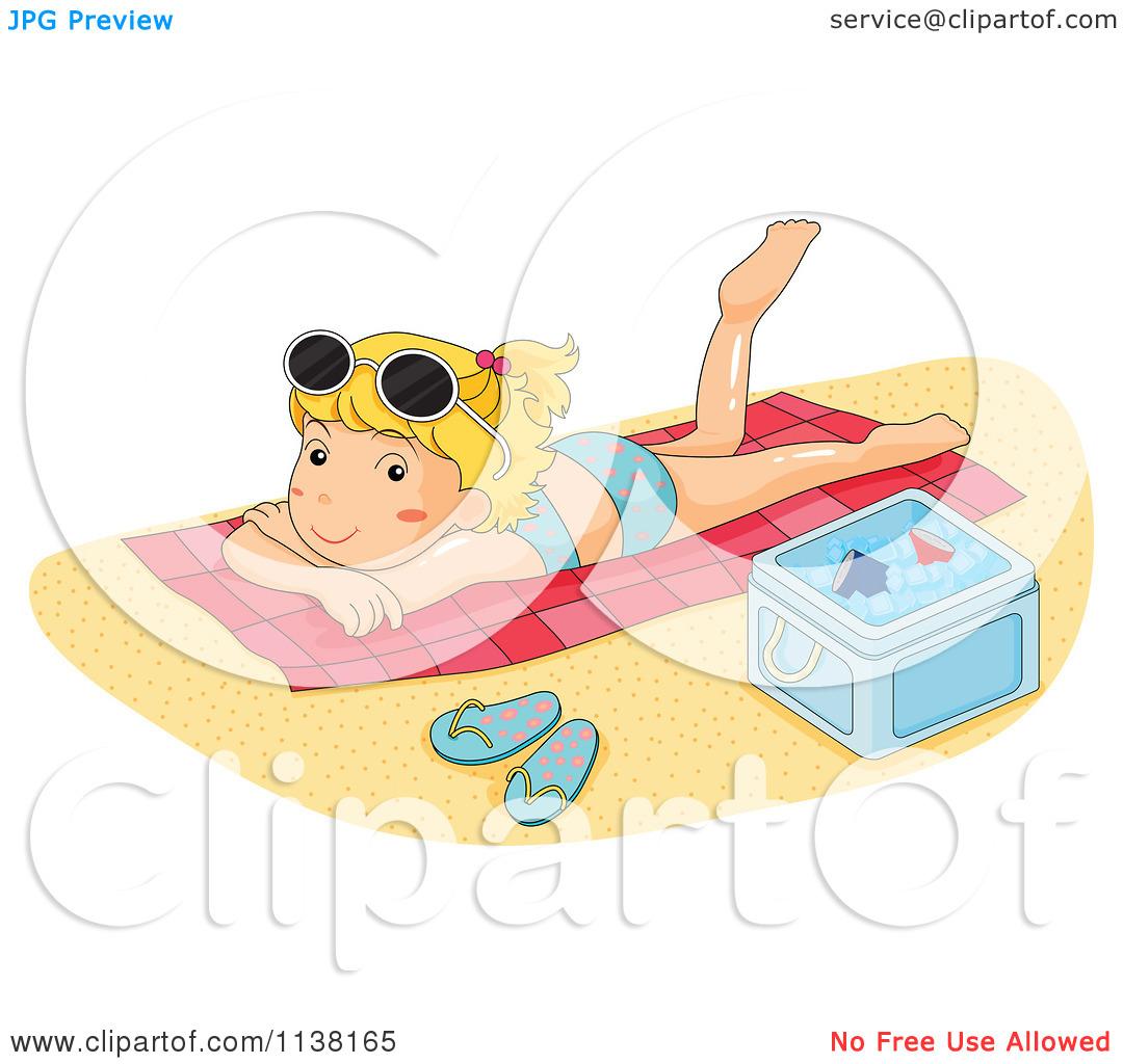 Cartoon Of A Girl Sun Bathing On A Beach Towel.