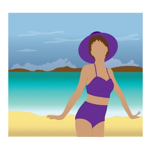 Woman On A Beach Posing Clipart Image.