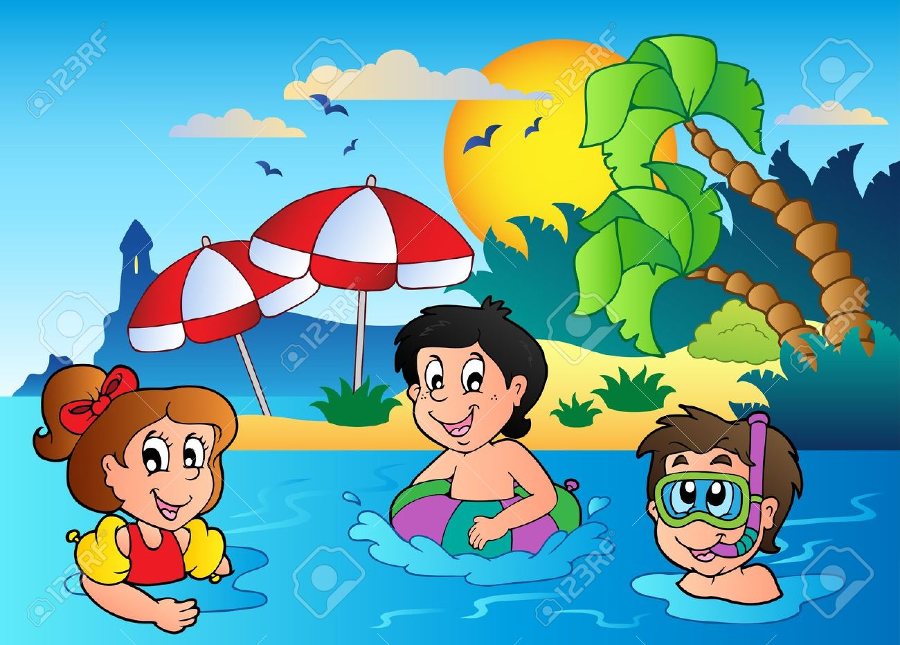 Swimming beach clipart outline.