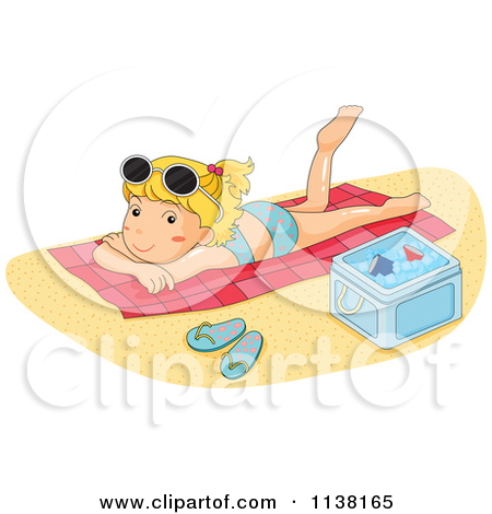 Cartoon of Girls Sun Bathing on a Beach.