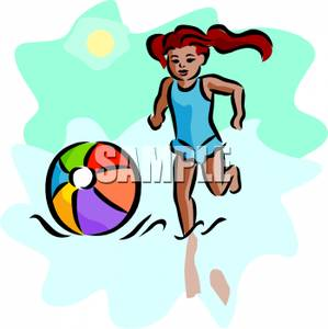Young Girl In a Bathing Suit Chasing a Beach Ball.