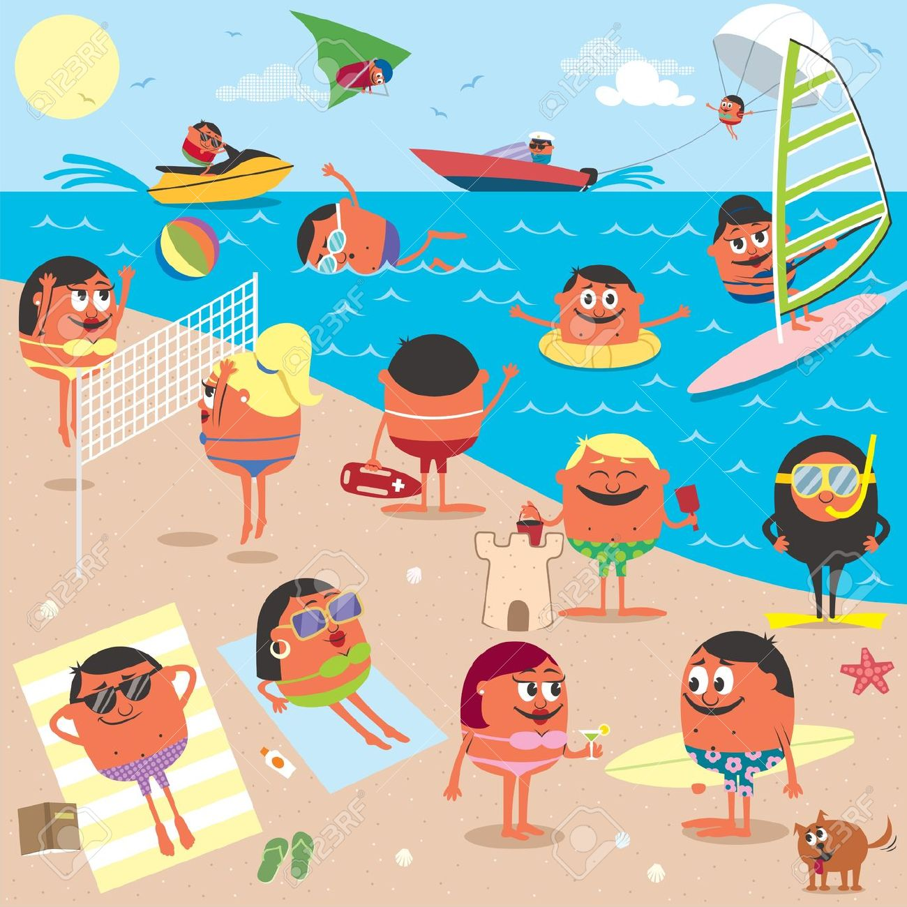 Cartoon Illustration Of Busy Beach. No Transparency And Gradients.