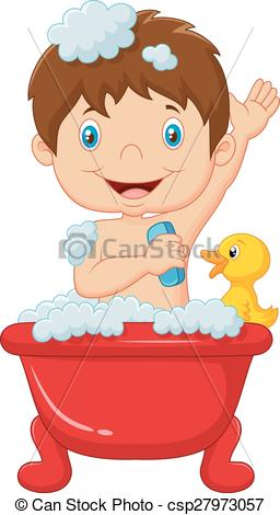 Clipart Vector of Cartoon child taking a bath.