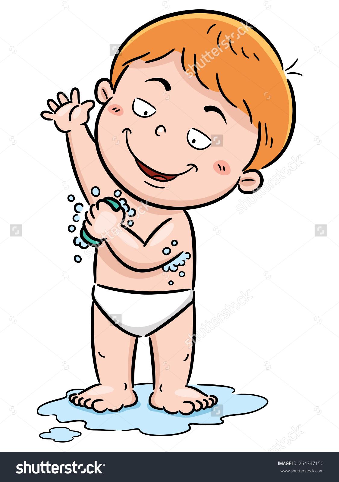 Boy bathing clipart.