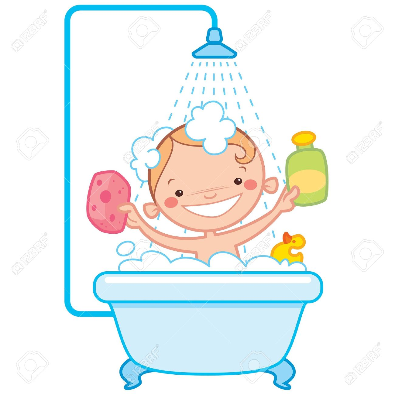 Bathing clipart.