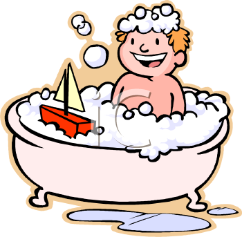 Boy bathing clipart.