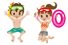 Kids In Bathing Suits Clipart.