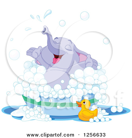 Clipart of a Cute Purple Elephant Bathing in a Tub.
