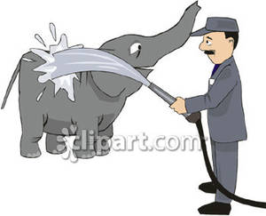 A_Man_Bathing_an_Elephant_Royalty_Free_Clipart_Picture_090428.