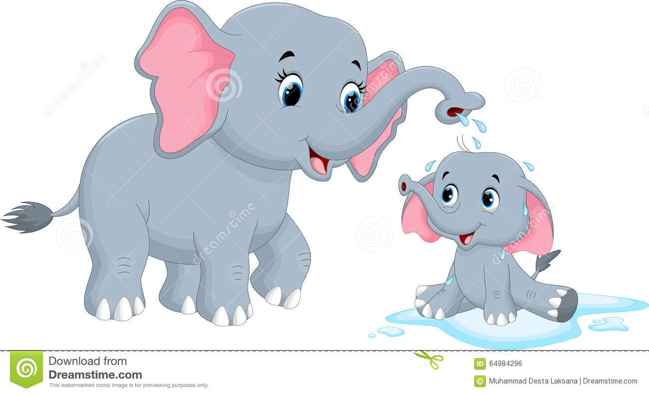 Bathing Elephant Stock Illustrations.