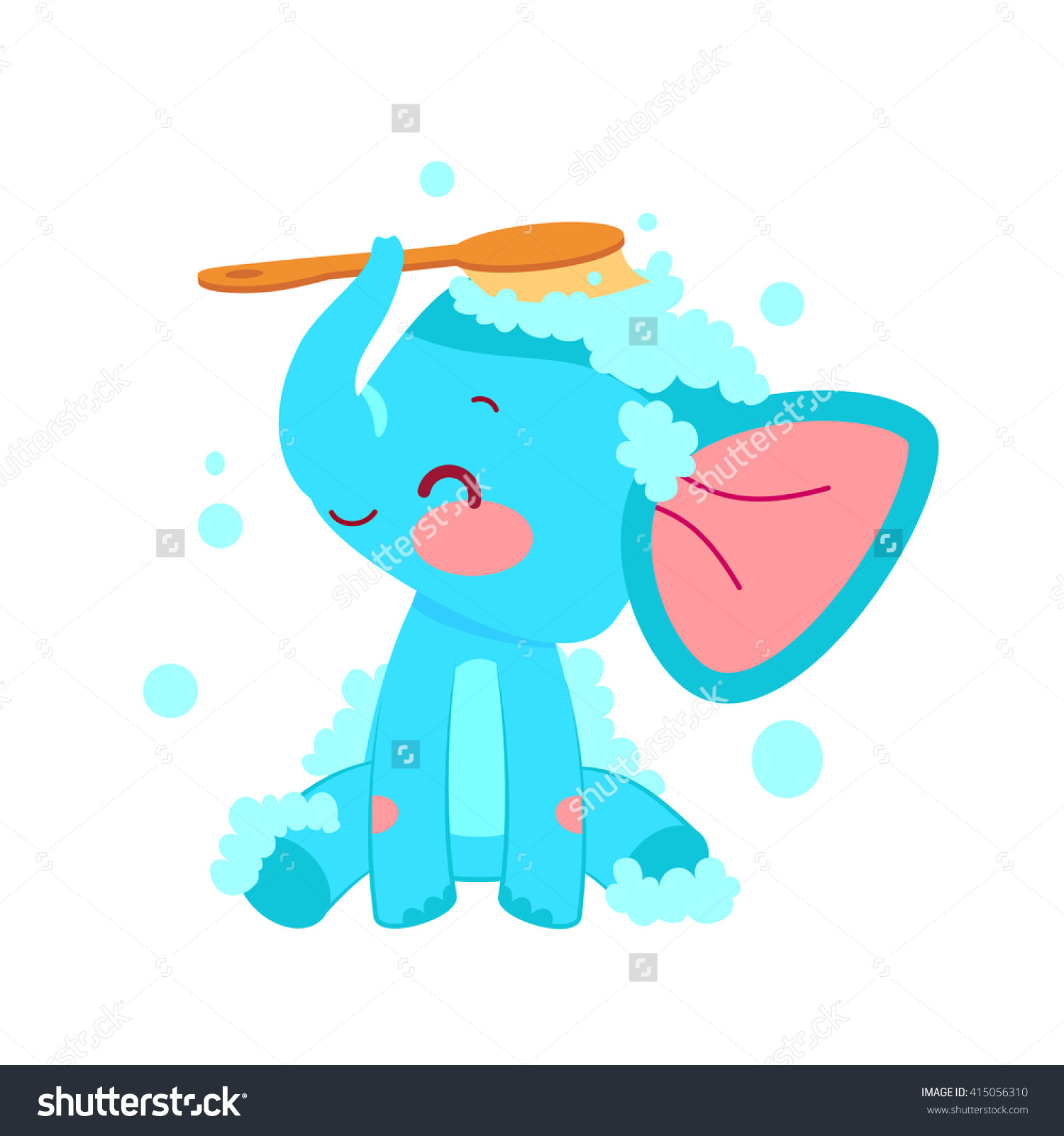 Cartoon Elephant Bathing Lather Illustration Vector Stock Vector.