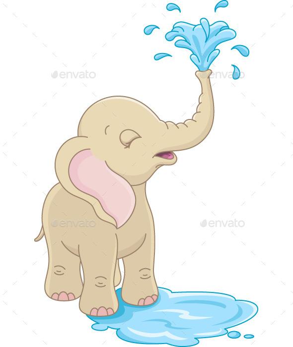 Elephant bathing clipart.