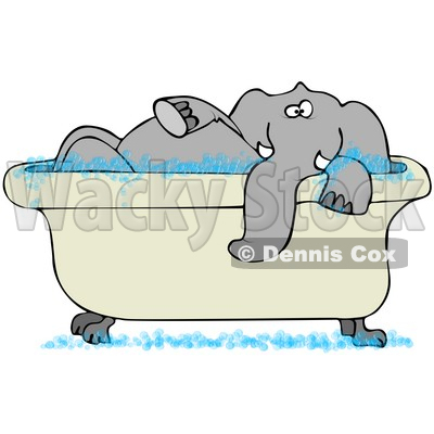 Illustration of a Tusked Gray Elephant Taking A Bubble Bath In A.