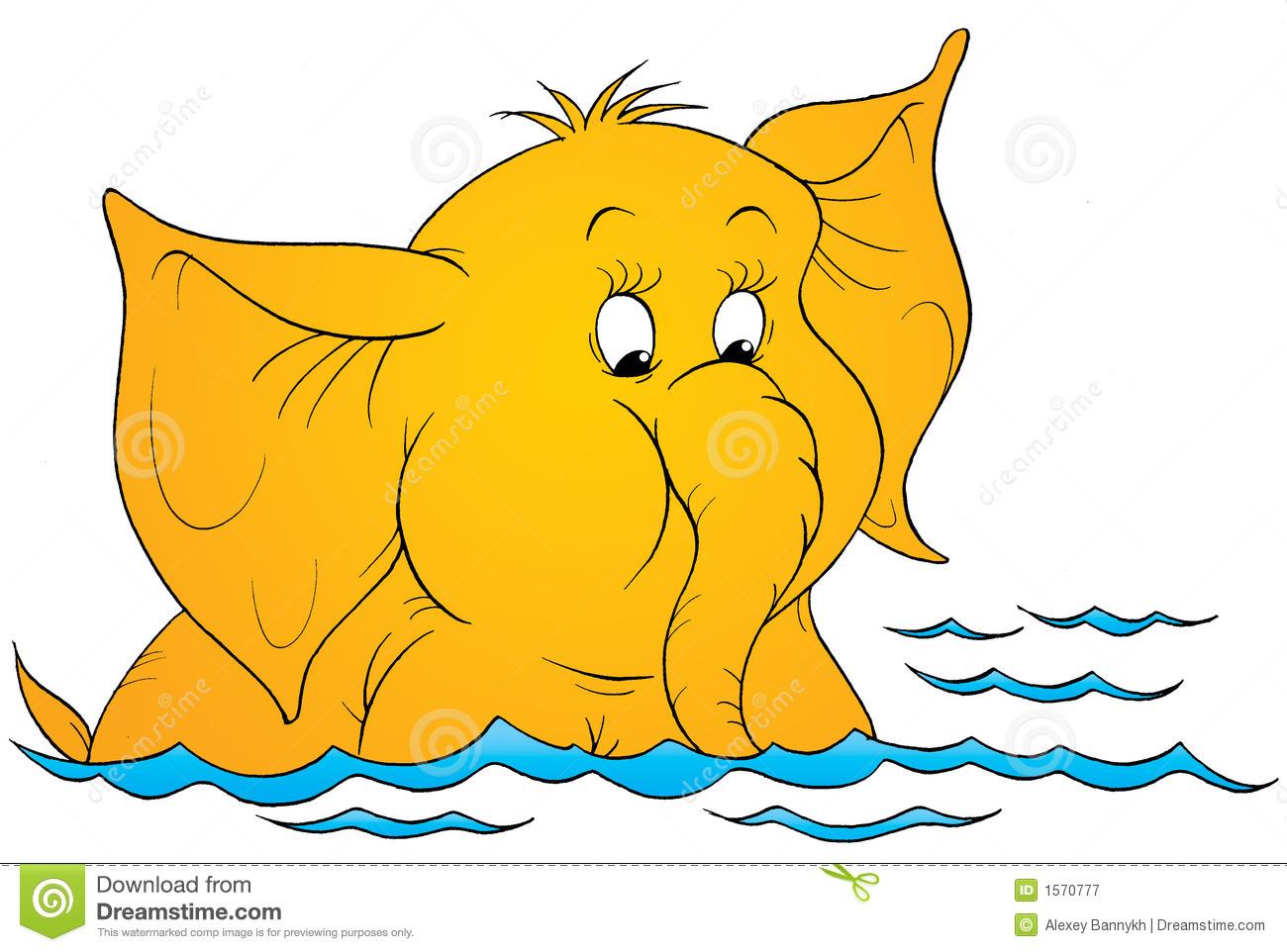 Elephant Bathing Stock Illustrations.