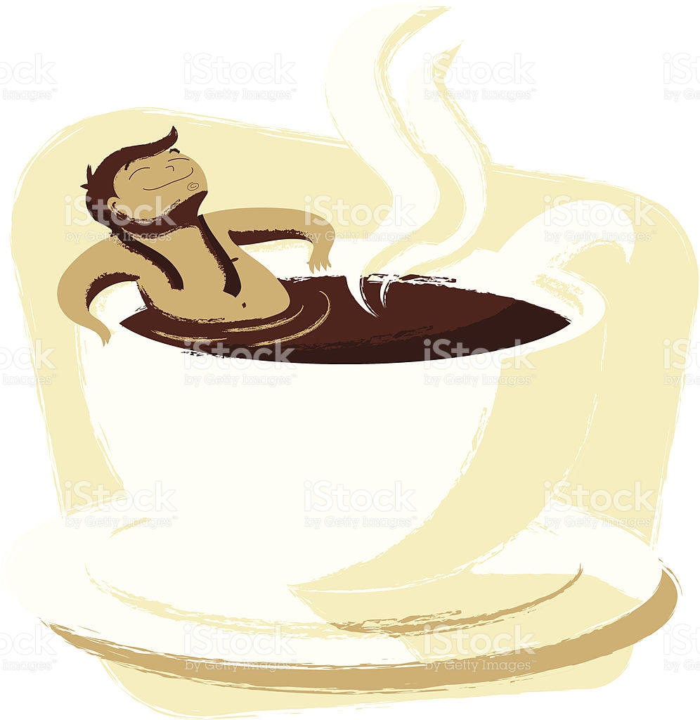 Man Relaxing In A Cup Of Coffee stock vector art 166214577.