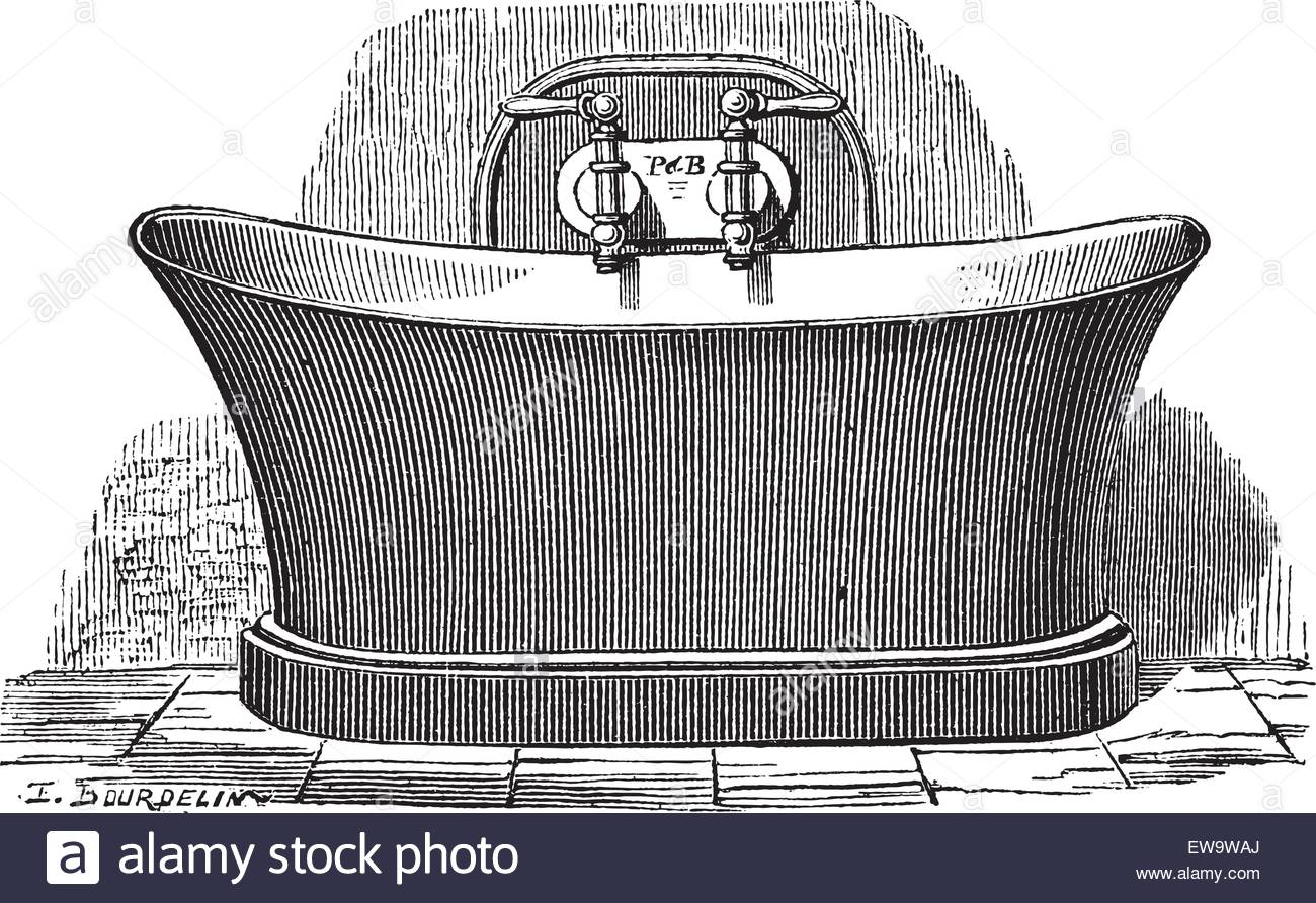 Old Engraved Illustration Of Copper Bathtub, Which Is Established.