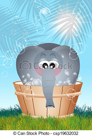 Drawings of elephant bathing.