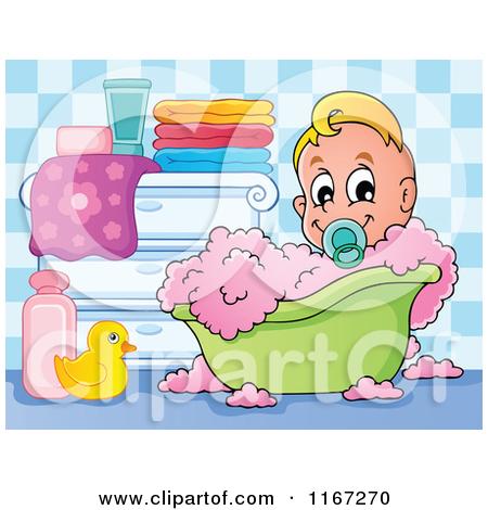Cartoon of a Baby Boy in a Bubble Bath.