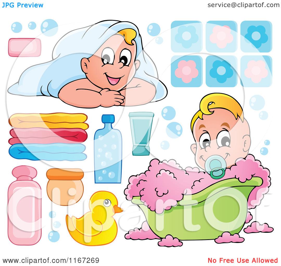 Cartoon of Babies and Bath Tub Items.