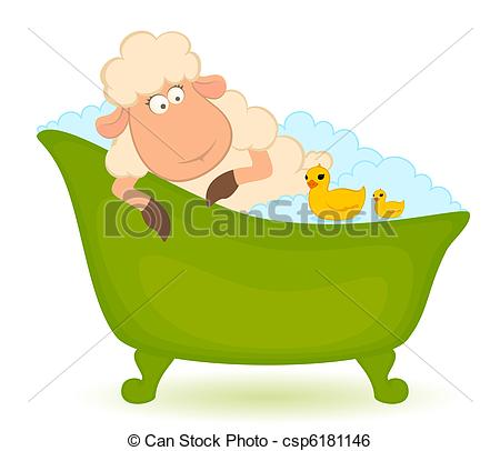 Clip Art Vector of sheep in bath.