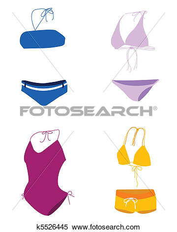 Clipart of bikini , bathing suit , swim suit k5526445.