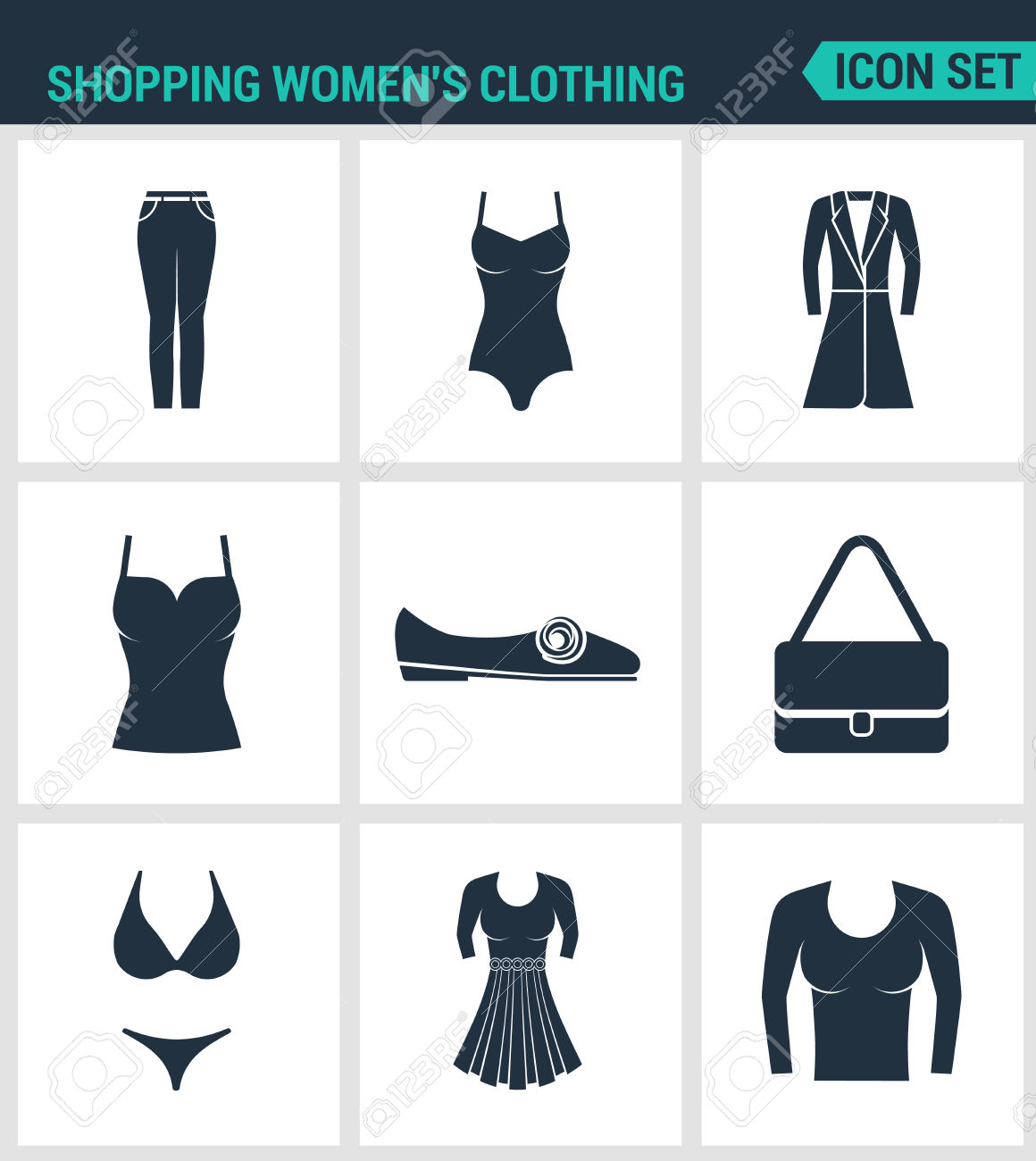 Set Of Modern Vector Icons. Shopping Women S Clothing Pants.