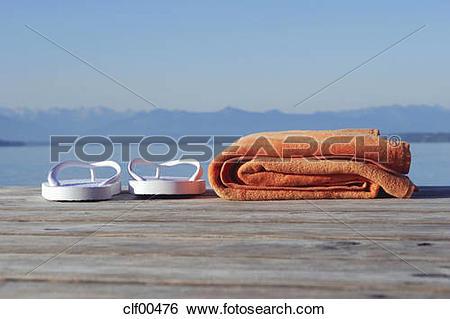 Stock Images of Germany, Bavaria, Lake Starnberg, bathing shoes.