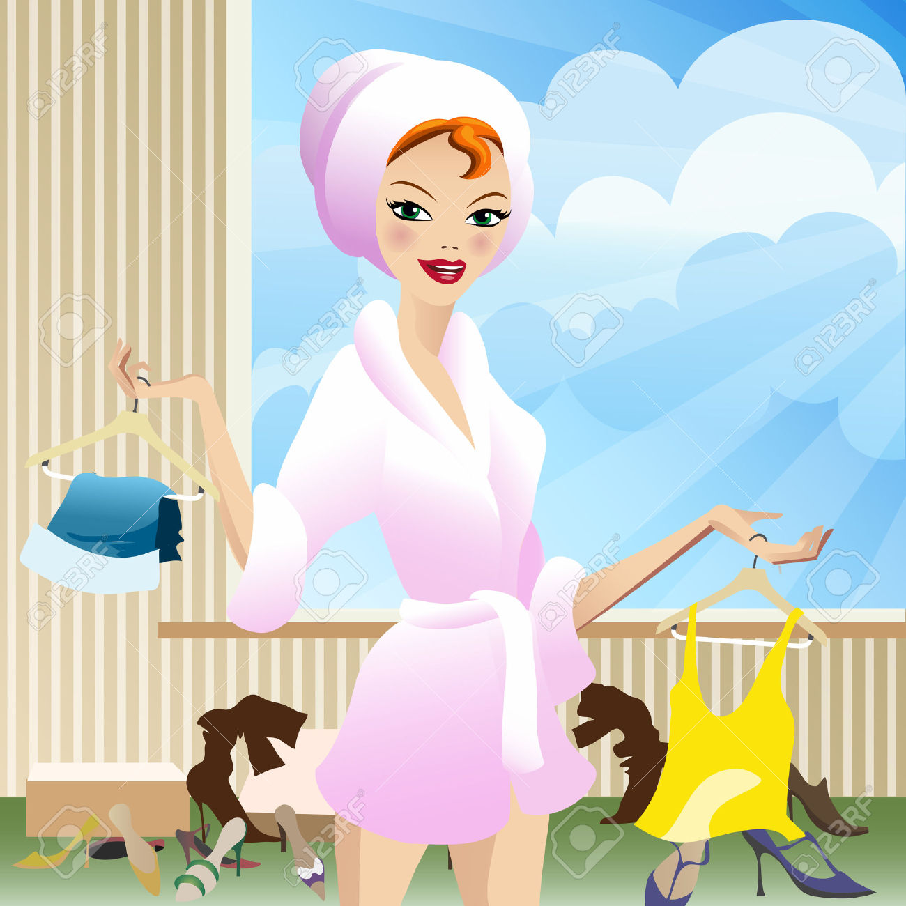 Illustration Of Young Woman In Bathing Dressing Gown In Summer.