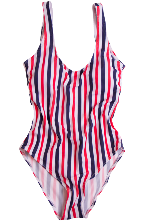 Red white blue swimsuit polyvore moodboard filler.