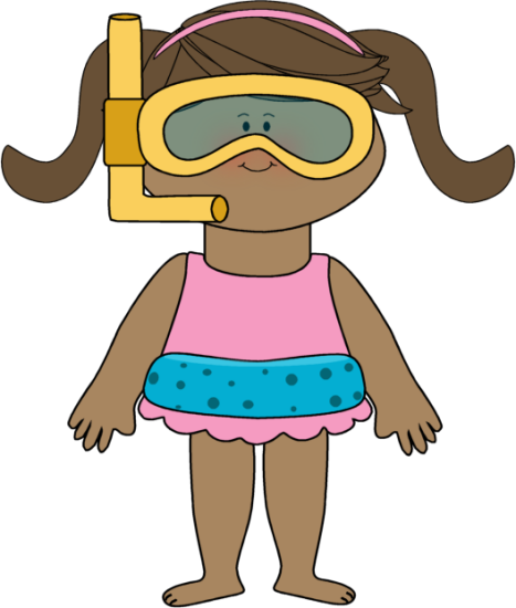 Towel and bathing suit kids clipart.