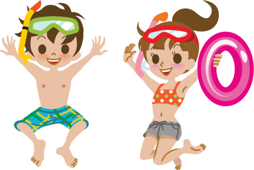 Kids bathing suit clipart.