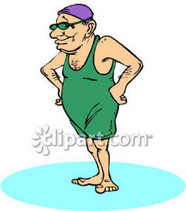 Animated elderly women in bathing suits clipart.