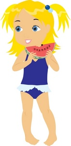 Girl in bathing suit clipart.
