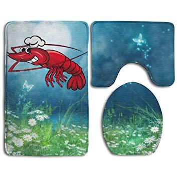 Amazon.com: 3 Piece Lobster Clipart Anti Slip Bath Mat Rug.