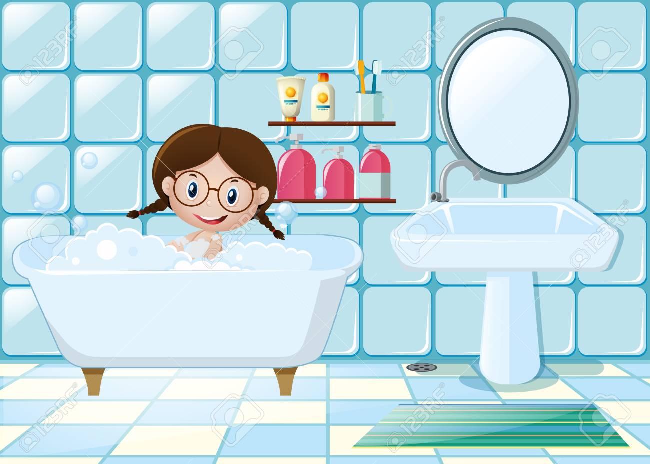 Little girl taking bath in bathroom » Clipart Station.