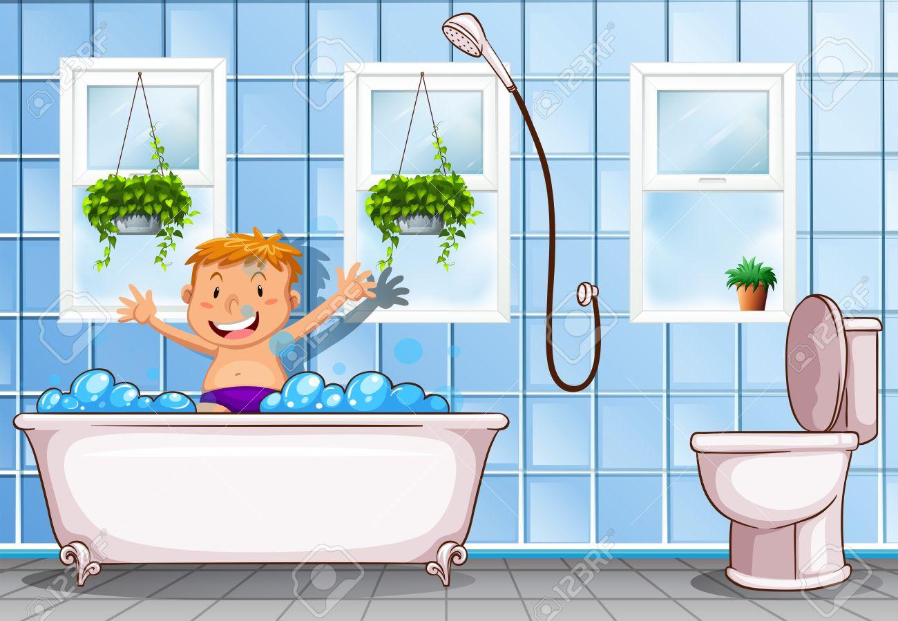 Boy taking a bath in bathroom illustration.