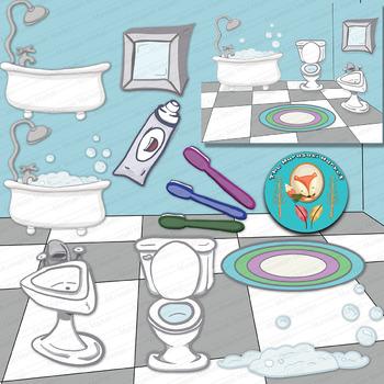 13 Bathroom Clip Art pieces, bathroom accessories Clipart png files.