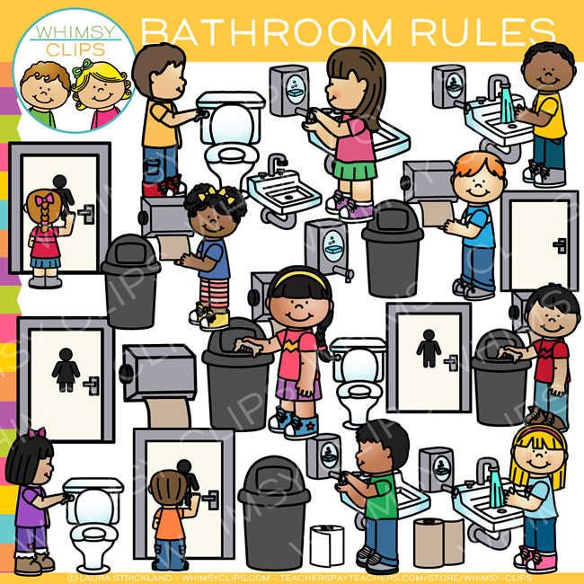 Bathroom Rules Clip Art.