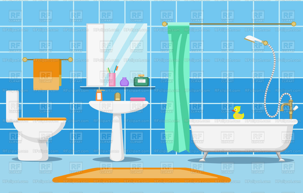Clean beautiful bathroom interior with shower Stock Vector Image.