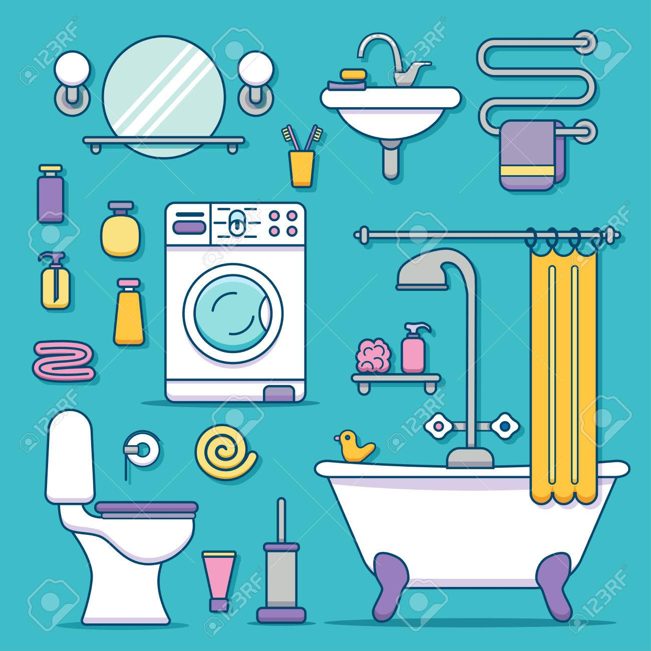Bath equipment icons made in modern line style. Colorful clip...