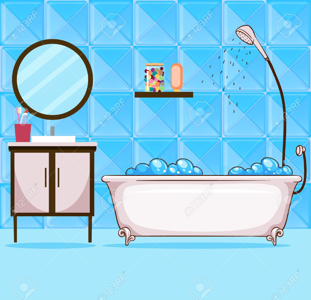 Bathroom with bathtub and shower illustration.
