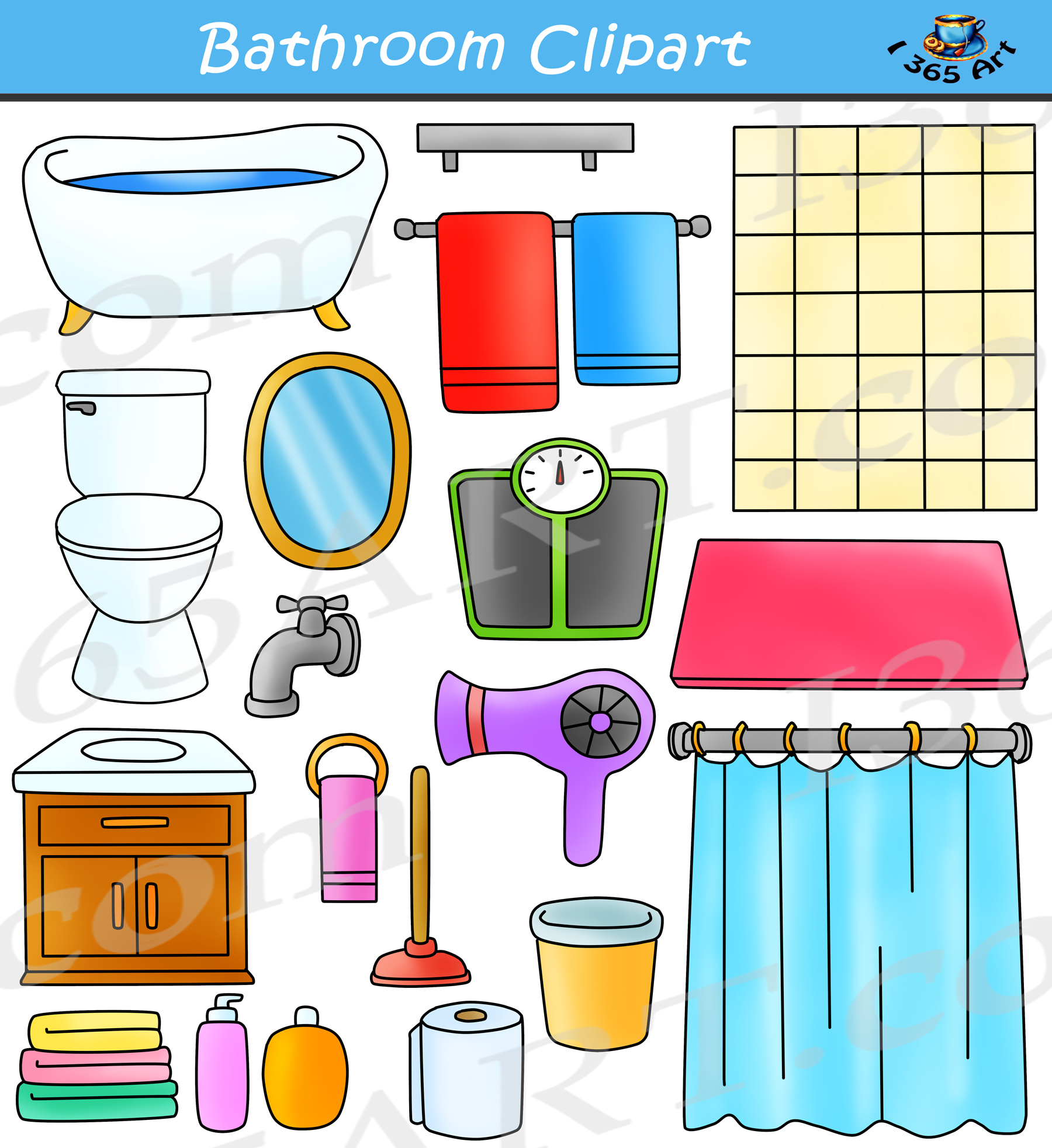 Bathroom Clipart Set.