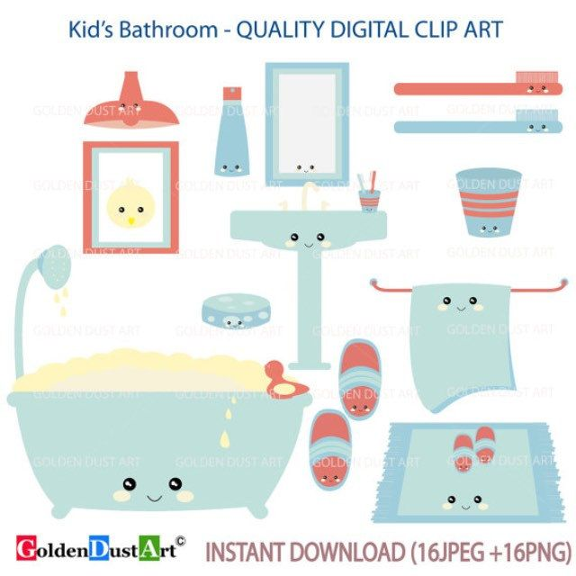 Kids bathroom clipart, kawaii bathroom, kawaii clip art, kawaii.